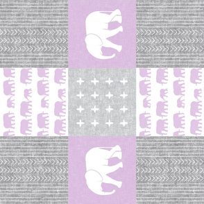 Elephant wholecloth - cross my heart - purple (90)