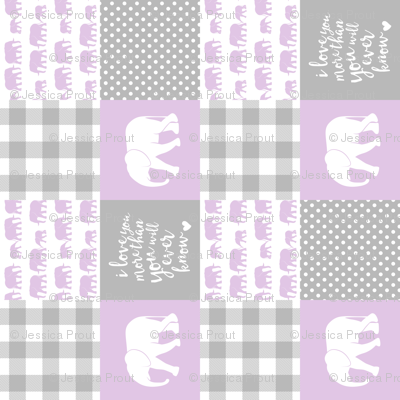 Elephant wholecloth - I love you more than you will ever know - patchwork - plaid - purple (90)