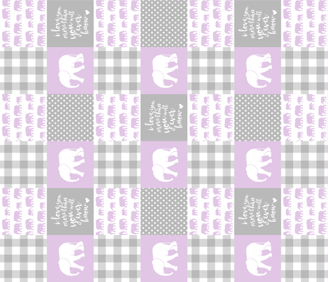Elephant wholecloth - I love you more than you will ever know - patchwork - plaid - purple (90) fabric by littlearrowdesign on Spoonflower - custom fabric