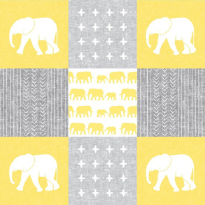 Elephant wholecloth - cross my heart - yellow