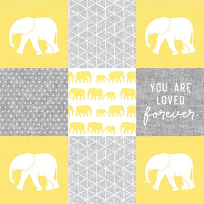Elephant wholecloth - You are loved forever.  - yellow