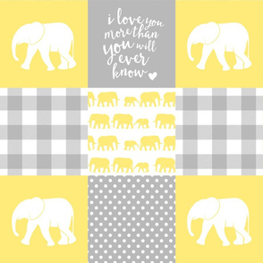 Elephant wholecloth - I love you more than you will ever know - patchwork - plaid - yellow
