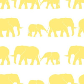 elephants march - yellow on white