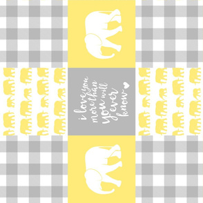 Elephant wholecloth - I love you more than you will ever know - patchwork - plaid - yellow (90)