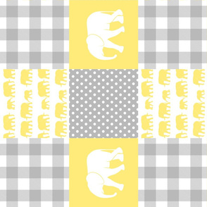 elephant wholecloth - plaid and polka dots - yellow (90)