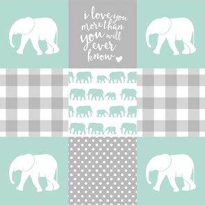 Elephant wholecloth - I love you more than you will ever know - patchwork - plaid - mint