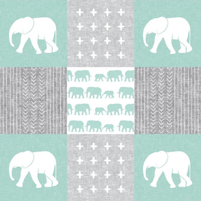 Elephant wholecloth - cross my heart - mint