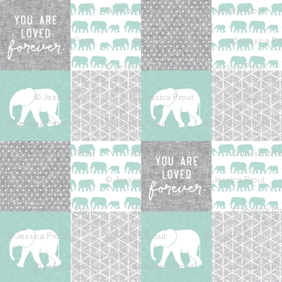 Elephant wholecloth - You are loved forever.  - mint