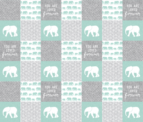 Elephant wholecloth - You are loved forever.  - mint fabric by littlearrowdesign on Spoonflower - custom fabric