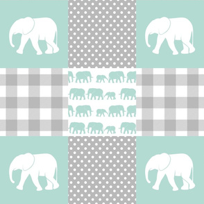 elephant wholecloth - plaid and polka dots - mint