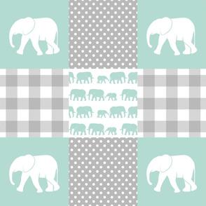 elephant wholecloth - plaid and polka dots - mint