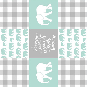 Elephant wholecloth - I love you more than you will ever know - patchwork - plaid - mint (90)