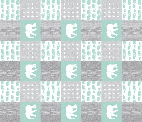 Elephant wholecloth - cross my heart - mint (90) fabric by littlearrowdesign on Spoonflower - custom fabric