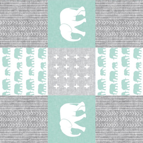 Elephant wholecloth - cross my heart - mint (90)
