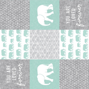 Elephant wholecloth - You are loved forever.  -  mint  (90)