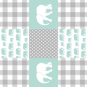 elephant wholecloth - plaid and polka dots - mint (90)
