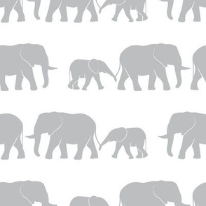 elephants march - grey on white