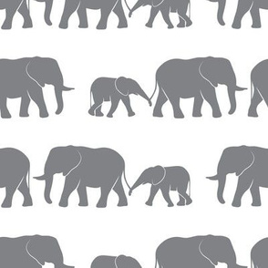elephants march - dark grey on white