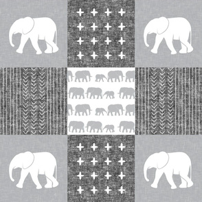 Elephant wholecloth - cross my heart - grey & white