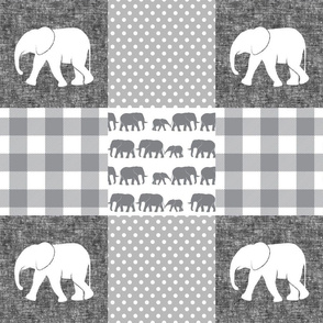 elephant wholecloth - plaid and polka dots - grey and white