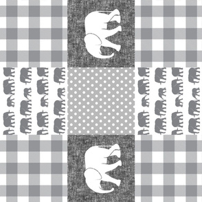 elephant wholecloth - plaid and polka dots - grey and white (90)