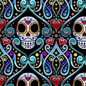 sugar skull damask