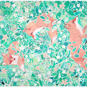 dappled fox tea towel