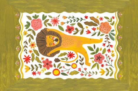 Emotional lion fabric by alenkakarabanova on Spoonflower - custom fabric