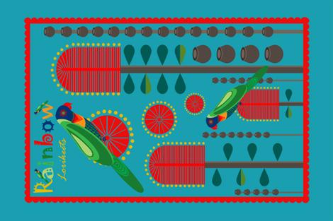 Rainbow Lorikeets on Bottlebrush Tree fabric by neishniche on Spoonflower - custom fabric