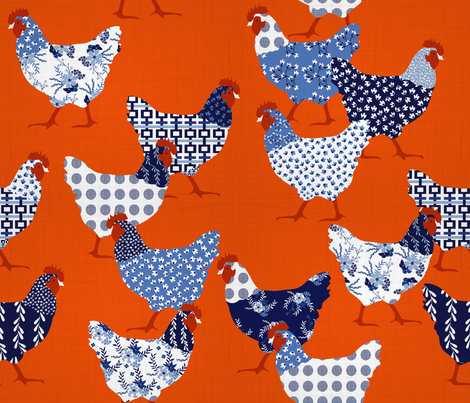 Chick Chick Chinoiserie  fabric by booboo_collective on Spoonflower - custom fabric