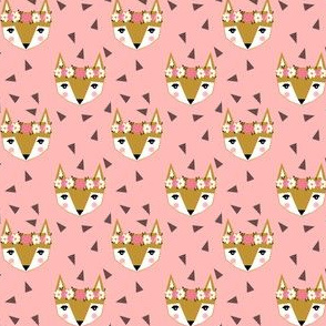 SMALL - fox flower crown pink spring cute girly nursery baby