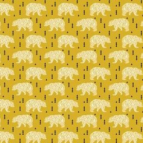 SMALL - bear mustard geo bear geometric kids boys nursery