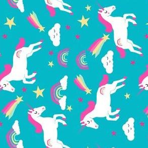 unicorn bright colors fabric rainbow clouds stars cute girls unicorn fabric turquoise