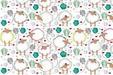 My Lovely Sheep fabric by gracelillydesigns on Spoonflower - custom fabric