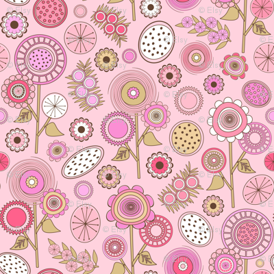 Pink Mid Century Modern Field of Flowers