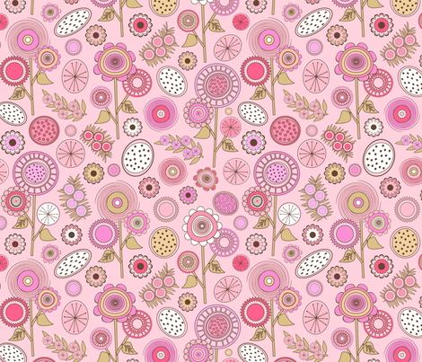 Pink Mid Century Modern Field of Flowers fabric by elsy's_art on Spoonflower - custom fabric