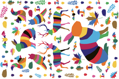 animales del bosque tea towel