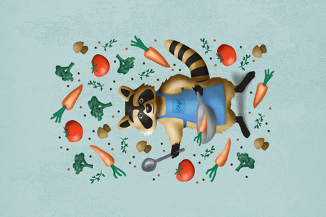 chef racoon  fabric by lilalunis on Spoonflower - custom fabric