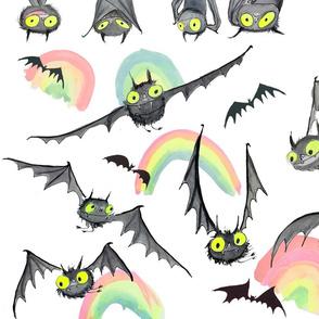 Rainbow Bat Fabric -small
