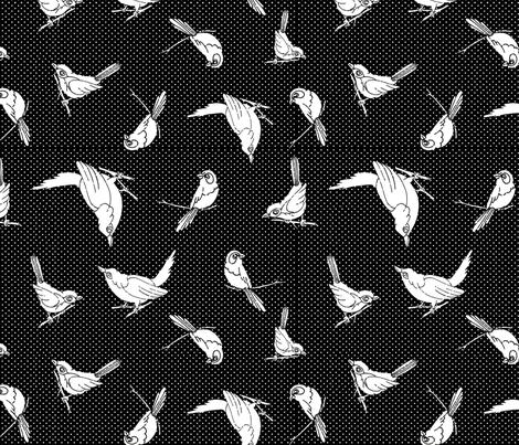 Garden Birds shadows blackwhite fabric by monarch_design_studio on Spoonflower - custom fabric