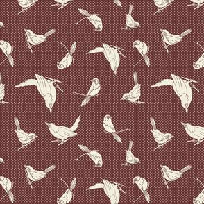 Garden Birds shadows maroon ow