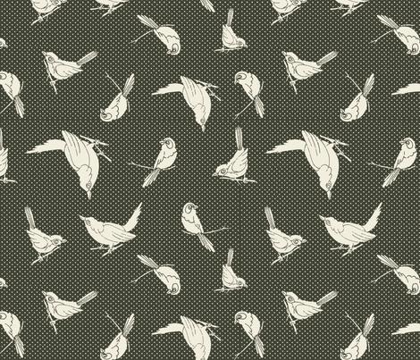 Garden Birds shadows sage ow fabric by monarch_design_studio on Spoonflower - custom fabric