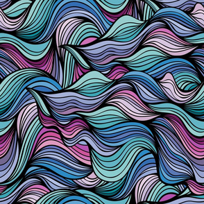 Abstract doodle style waves
