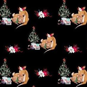 """4"""" Mama and Baby Deer Christmas - Black"""