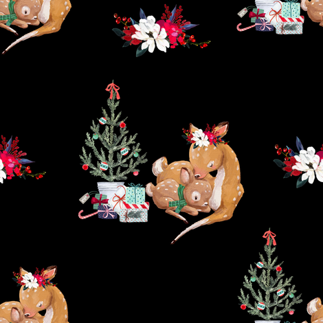 "8"" Mama and Baby Deer Christmas - Black fabric by shopcabin on Spoonflower - custom fabric"