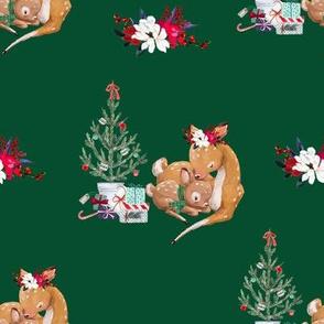 """8"""" Mama and Baby Deer Christmas - Green"""