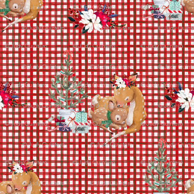 "4"" Mama and Baby Deer Christmas - Plaid"
