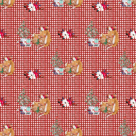 "4"" Mama and Baby Deer Christmas - Plaid fabric by shopcabin on Spoonflower - custom fabric"