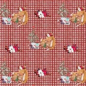 """4"""" Mama and Baby Deer Christmas - Plaid"""