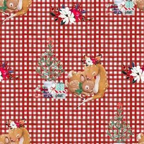 """8"""" Mama and Baby Deer Christmas - Plaid"""